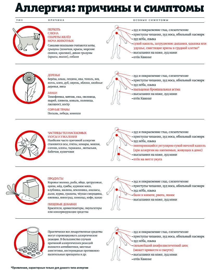 Причины и симптомы аллергии