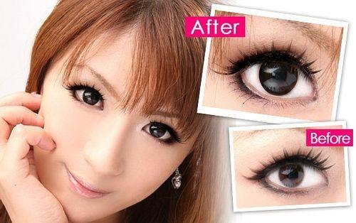 Увеличивающие глаза линзы: до и после
